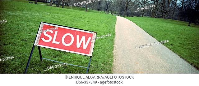 Slow sign, Green Park. London. England