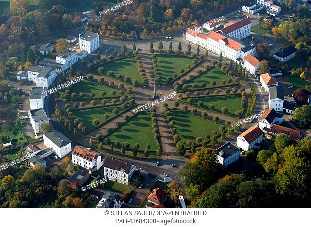 The round square called 'Circus' in the city center of Putbus on Ruegen island is bordered by landmarked houses, photographed in Putbus, Germany