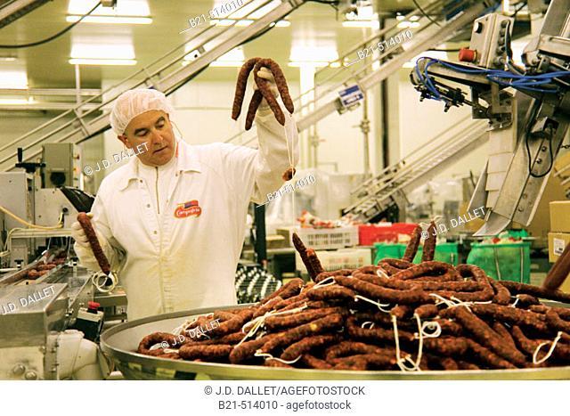 Packaging sausages at Campofrio factory. Burgos province, Castilla-León, Spain