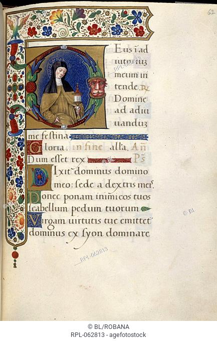 St Clare Whole folio Office of Vespers of the Virgin. St Clare in Franciscan habit and black veil holding a monstrance