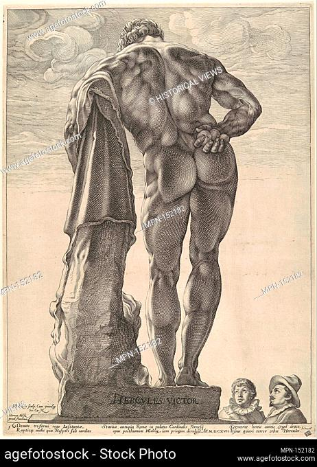 Farnese Hercules. Artist: Hendrick Goltzius (Netherlandish, Mühlbracht 1558-1617 Haarlem); Date: ca. 1592, dated 1617; Medium: Engraving; Dimensions: sheet: 16...