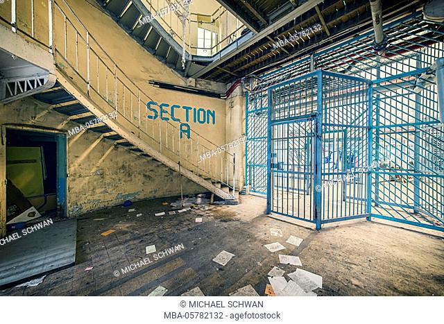 Cell block in a disused prison