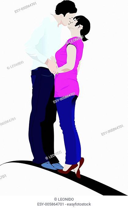 Kissing Couple vector illustration
