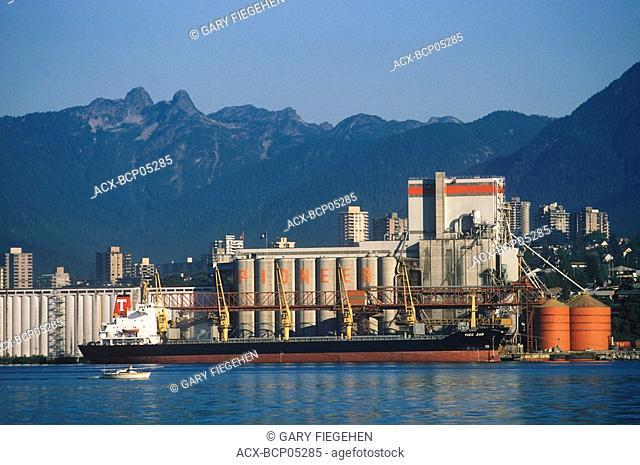 Cargo ship in front of grain dock, Prince Rupert, British Columbia, Canada