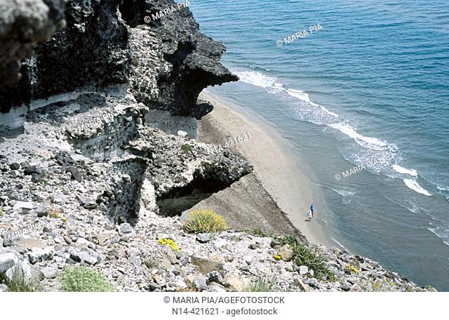 Volcanic cliffs, Barronal beach. Cabo de Gata, Almería province. Andalusia, Spain