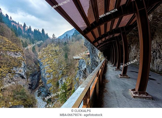 View of catwalk on Via Mala di Scalve, Dezzo di Scalve, Val di Scalve, Bergamo province, Lombardy, Italy