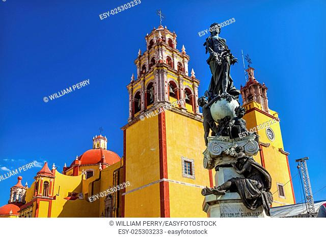 Our Lady of Guanajuato Paz Peace Statu Night Guanajuato, Mexico Statue donated To City by Charles V, Holy Roman Emperor, in the 1500s