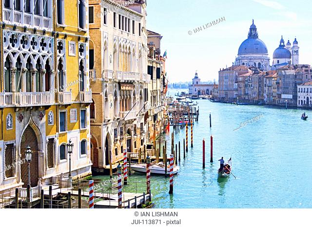 Gondolier paddling gondola in sunny Grand Canal in front of Santa Maria della Salute and architectural buildings in Venice, Italy