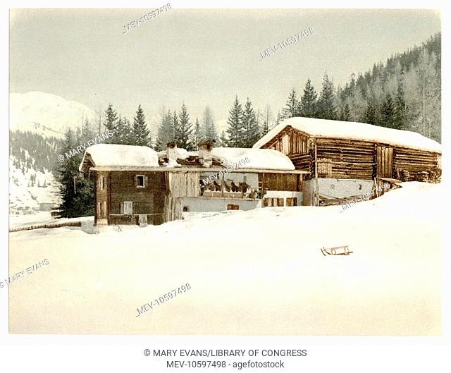 Winter scene with log structure, Grisons, Switzerland. Date between ca. 1890 and ca. 1900