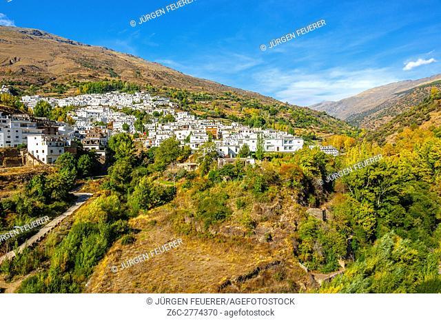 white village Trevélez, panorama view, Andalusia, Spain