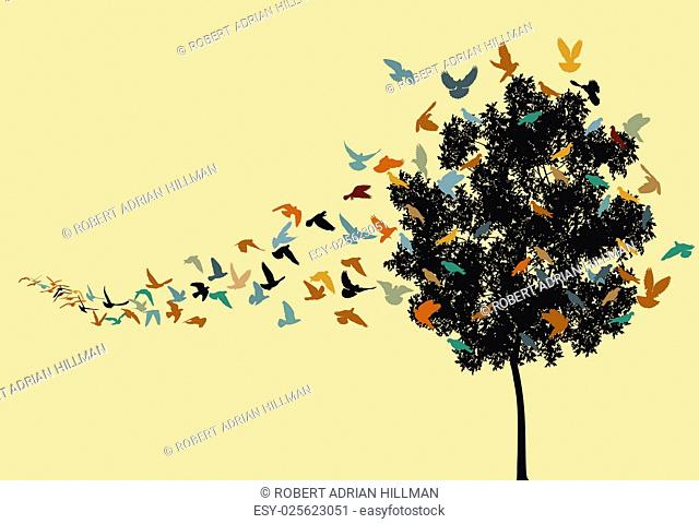 Vector silhouettes of a pigeon flock flying to a tree roost