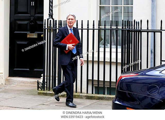 The Chancellor of the Exchequer Philip Hammond departs from No 11 Downing Street to the Houses of Parliament to deliver the Spring Statement