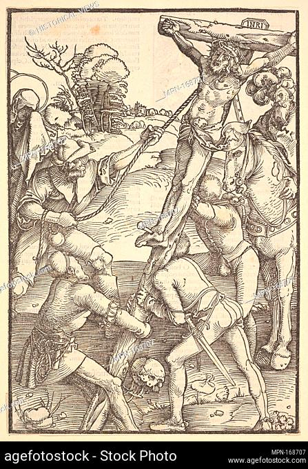 Raising of the Cross from Ulrich Pinder, Speculum Passionis Domini Nostri Ihesu Christi. Artist: Hans Baldung (called Hans Baldung Grien) (German