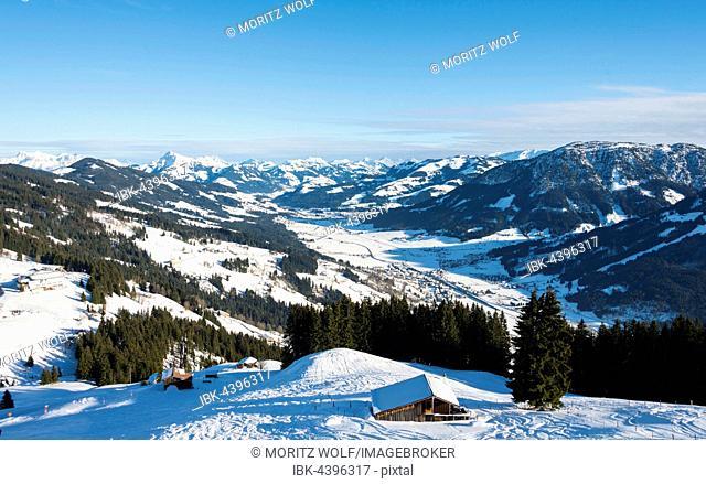 View of Alps and Inn Valley, ski resort, Brixen im Thale, Tyrol, Austria