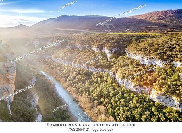 Viewpoint of the River Ebro Canyon near Pesquera de Ebro village, Paramos region, Burgos, Spain