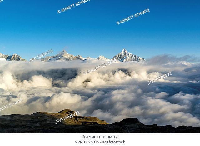 View from Gornergrat (3089 m) at sunrise to Pennine Alps, Zermatt, Switzerland