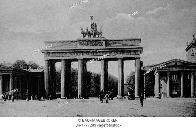 Brandenburg Gate, Berlin, Germany, Europe, historical photo from around 1899
