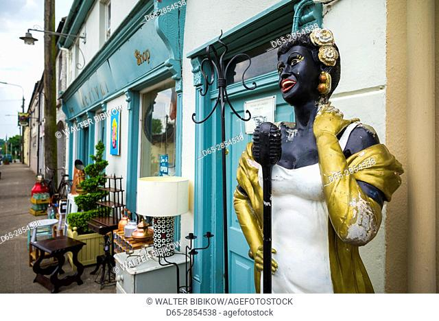 Ireland, County Offaly, Moneygall, antique statue of blues singer Billy Holiday