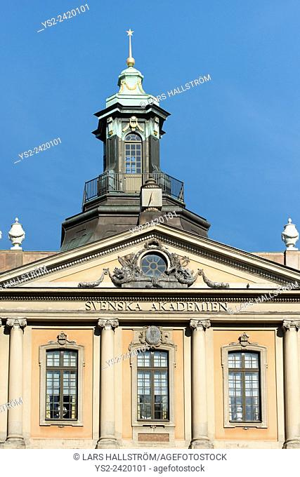 Exterior of Svenska Akademien (Swedish Academy), the institution that awards the Nobel Prize in literature. Situated in Old Town Stockholm, Sweden