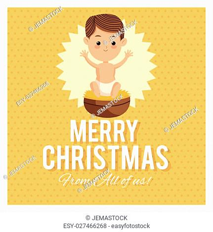 Manger represented by baby jesus icon over frame and pointed background. Merry Christmas design