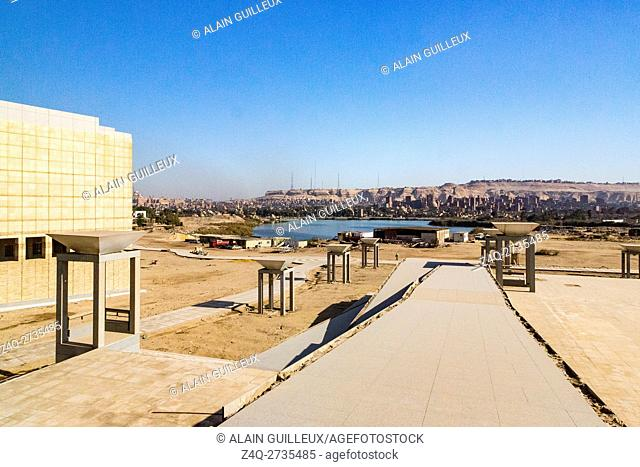 Egypt, Cairo, the National Museum of Egyptian Civilization, not yet inaugurated, in December 2015 : View on the lake and the Mokattam hill