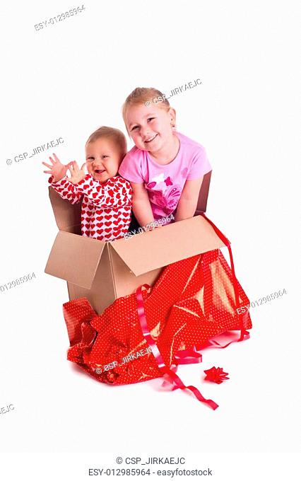 two child in gift box
