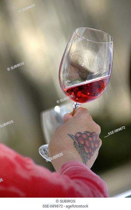 tasting glass of rosé
