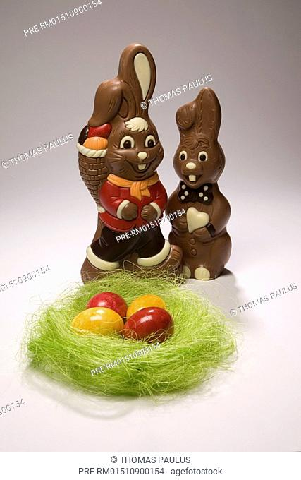 Chocolate hare and Easter eggs