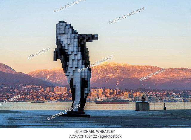 Digital Orca sculpture, Jack Poole Plaza, Vancouver, British Columbia, Canada