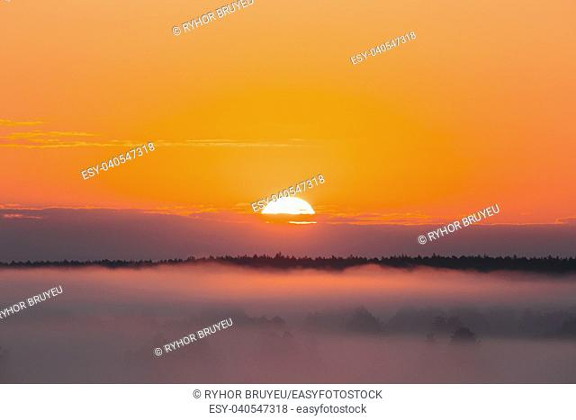 Amazing Sunrise Over Misty Landscape. Scenic View Of Foggy Morning Sky With Rising Sun Above Misty Forest. Middle Summer Nature Of Europe