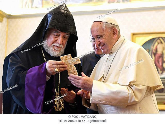 Pope Francis meets Aram I, head of the Catholicosate of the Great House of Cilicia, Vatican City 05 apr 2018