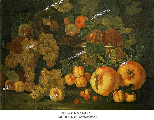 Still life with fruit, by Pietro Paolo Bonzi (ca 1576-1636).  Florence, Museo Bardini (Art And Arts And Crafts Museum)