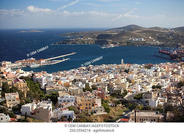 View to the Ermoupolis from Ano Syros village, Syros, Cyclades Islands, Greek Islands, Greece, Europe