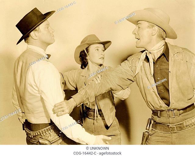 Randolph Scott and David Brian American actors in Fort Worth Film, USA 1951