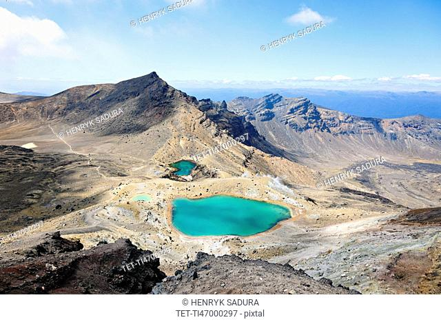 Volcanic landscape with lake