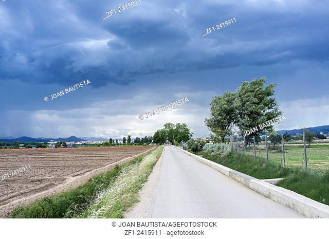 A spring storm in Delta de Llobregat,El Prat de Llobregat,Catalonia,Spain