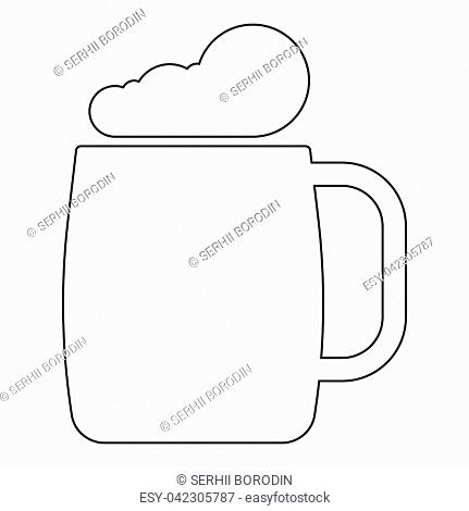 Glass of beer the black color icon vector illustration