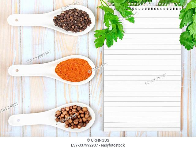 Menu background. Cook book toned image. Vintage image of recipe background. Recipe notepad with diversity of spices and herb