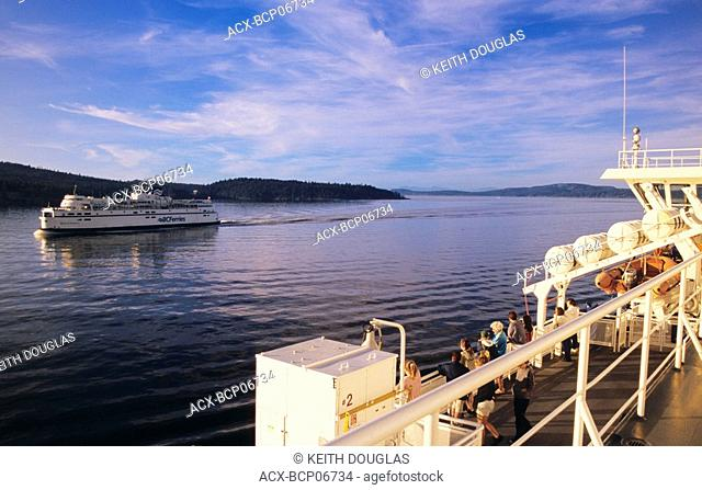 BC Ferries pass each other, Active Pass, British Columbia, Canada