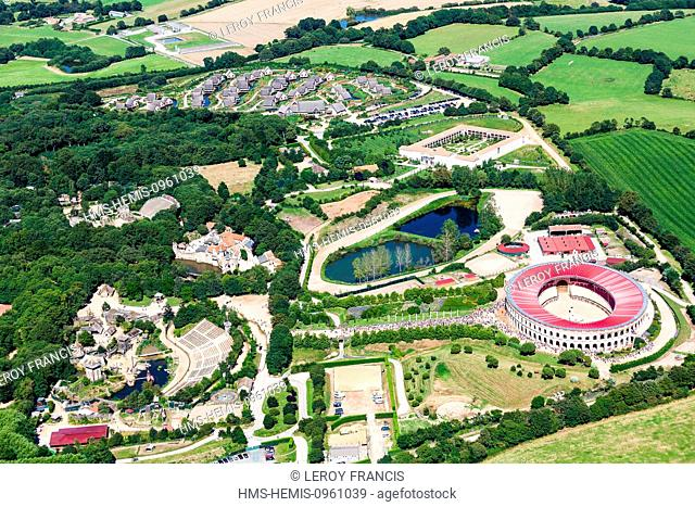 France, Vendee, Les Epesses, Le Puy du Fou, attactions and leisure parc, the vikings and the arenas (aerial view)