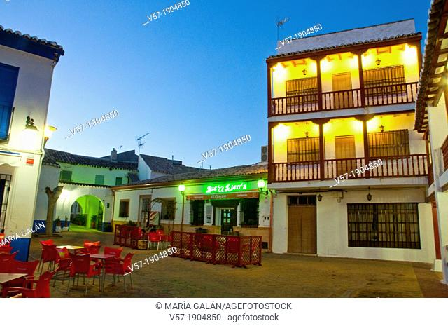 Small square, night view. Puerto Lapice, Ciudad Real province, Castilla La Mancha, Spain