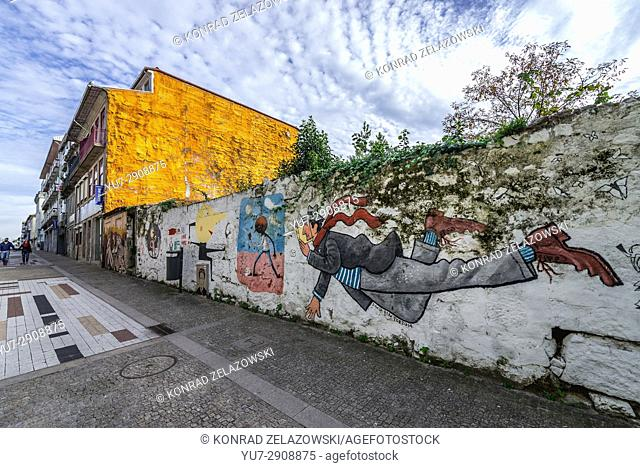 Wall painting by David Pintor on Miguel Bombarda street in Massarelos civil parish of Porto, second largest city in Portugal