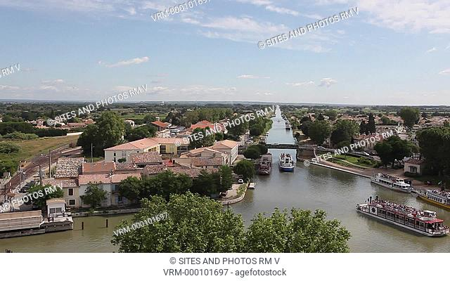 Locked Down Shot, HA, daylight. View from the castle of the Rhone-a-Sete Canal. The canal connects the Etang de Thau in Sete to the Rhone River in Beaucaire