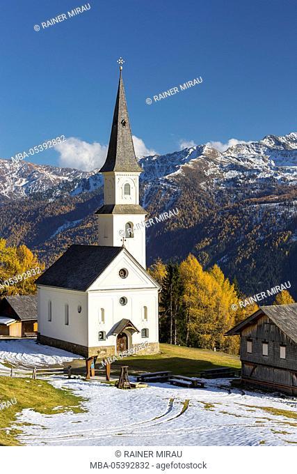 Church Marterle, Rangersdorf, Mölltal, Kreuzeck group, Hohe Tauern, Carinthia, Austria