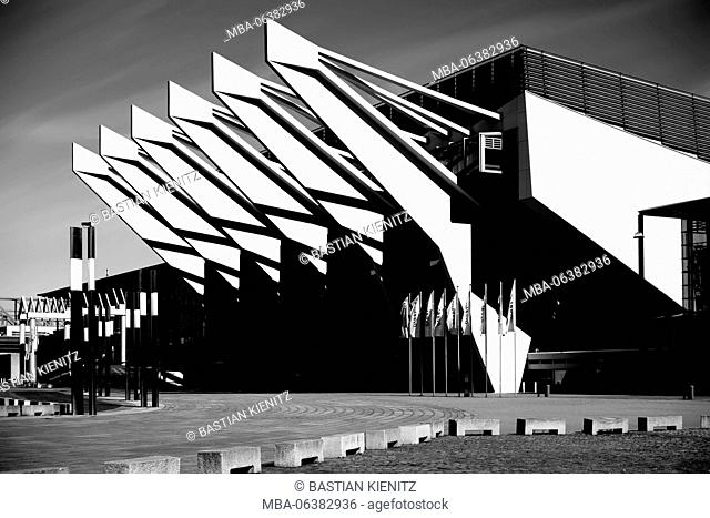 Bremen, Germany, The modern glass front with steel construction of ÖVB arena