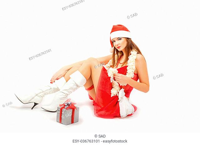 Beautiful Snow Maiden with gifts