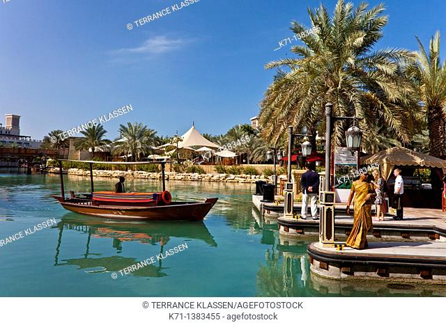 The Madinat Jumeirah with canals and tropical vegetation in Dubai, UAE