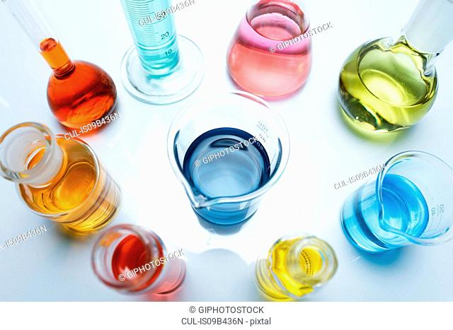 Variety of laboratory flask containing transition metal salts