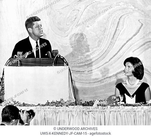 Washington, D.C.: September 20, 1960.Senator John F. Kennedy as he spoke tonight at a $100-a-plate fund raising dinner. His wife, Jacqueline