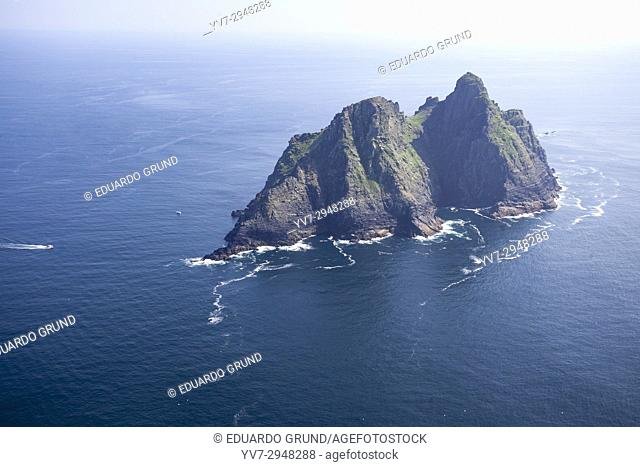 Bird view from a helicopter from the Skellig Islands, County Kerry, Ireland, Europe